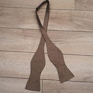 ROBERT TALBOTT Brown Gold Dots Silk Bow Tie